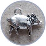 Свинка-подвеска, 2 см, цвет серебристый