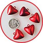 Бубенчик-сердечко, металлическая подвеска, 10 мм, цвет красный