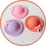 Шляпки цветные - элементы для декора и кукольной миниатюры
