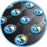 Стразы радужные клеевые, с ободком, 12 мм, 80 шт., цвет голубой