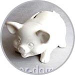 Свинья-копилка, 14 см, керамика бисквит