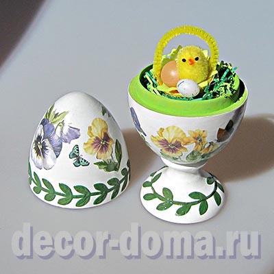 Пасхальное яйцо, декор в стиле английского фарфора, мастер-класс. Миниатюрный цыплёнок внутри.