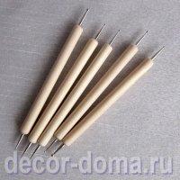 Стеки-дотсы c маленькими шариками 0,5-3 мм, 5 шт., деревянные ручки