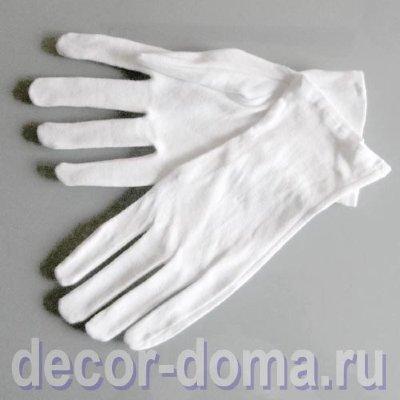 Перчатки тонкие белые, хлопок Тонкие хлопчатобумажные перчатки для работы со стеклом, лакированными поверхностями, деликатными предметами, раритетами. Для защиты рук.
